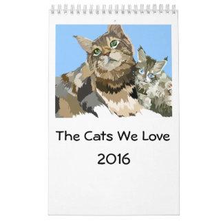Los gatos amamos la pared de la página de 2016 calendario de pared