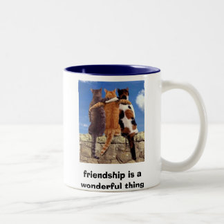 los gatos, amistad son una cosa maravillosa taza de dos tonos