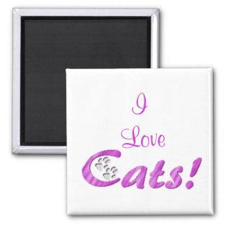 Los gatos, amo imán cuadrado