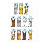 Los gatos consiguen bien pronto tarjeta postal