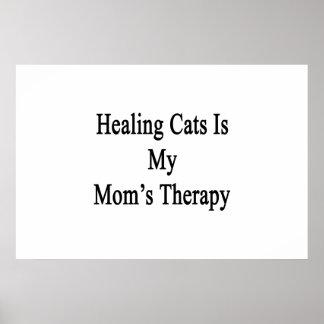 Los gatos curativos son la terapia de mi mamá posters