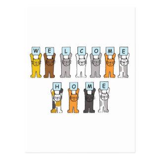 Los gatos dan la bienvenida a la tarjeta casera tarjetas postales