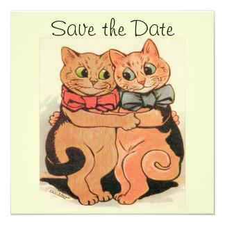 """Los gatos de abrazo ahorran la tarjeta de fecha invitación 5.25"""" x 5.25"""""""