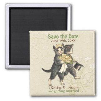 Los gatos del boda ahorran los imanes de la fecha imán cuadrado