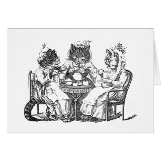 Los gatos del cotilleo tienen la fiesta del té tarjetón