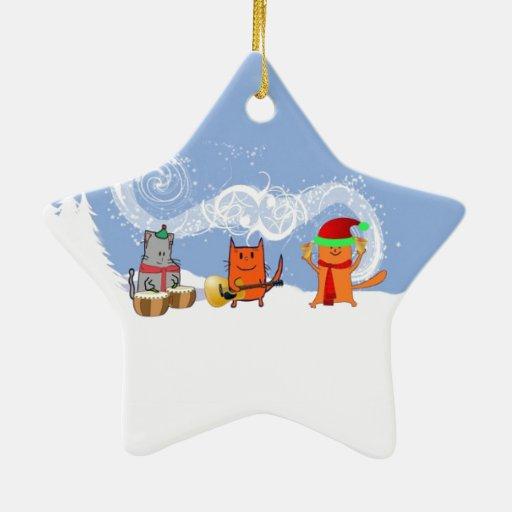 Los gatos del día de fiesta hacen música ornamento para arbol de navidad