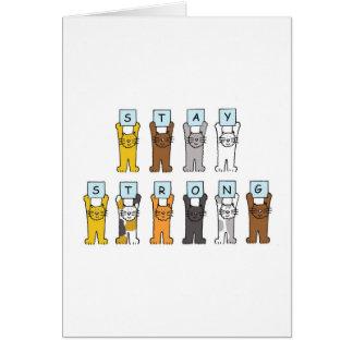 los gatos del dibujo animado permanecen estímulo f tarjeta de felicitación