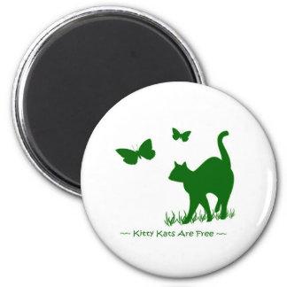 Los gatos del gatito son verde libre imán para frigorífico