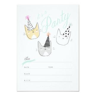 Los gatos del gorra del fiesta invitan invitación 12,7 x 17,8 cm