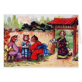 Los gatos del kimono tienen té (la imagen del vint tarjeta de felicitación