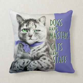 Los gatos del vintage tienen cita del arte de Wain Cojín