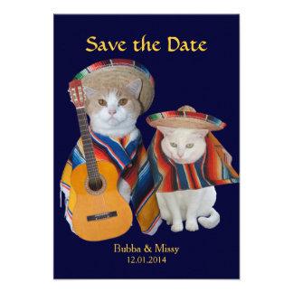 Los gatos divertidos al sur del boda de la invitación