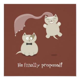 """Los gatos divertidos del dibujo animado ahorran la invitación 5.25"""" x 5.25"""""""