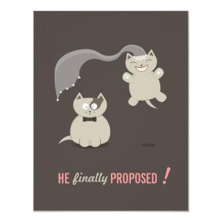 Los gatos divertidos del dibujo animado - ahorre invitación 10,8 x 13,9 cm