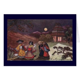 Los gatos en kimonos toman el paseo de última hora tarjeta de felicitación