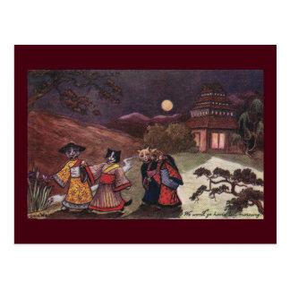 Los gatos en kimonos toman el paseo de última hora tarjeta postal