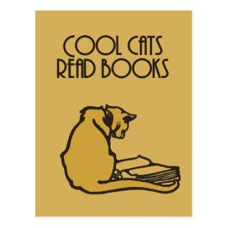Los gatos frescos leyeron estilo retro de los postal