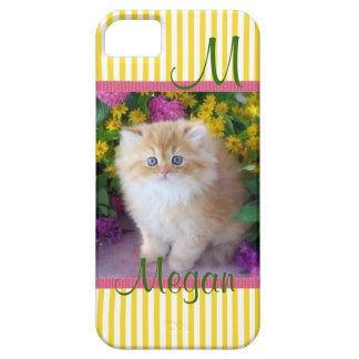 Los gatos, gatitos, personalizan, amarillean rayas iPhone 5 cárcasas