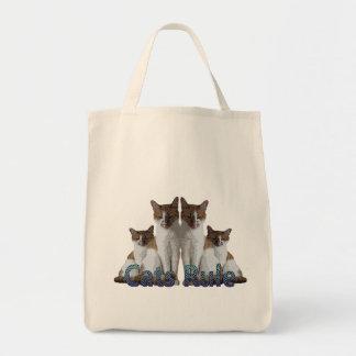 """Los """"gatos gobiernan"""" felines rayados azules del t bolsas lienzo"""
