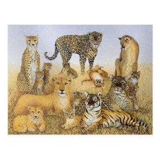 Los gatos grandes postales