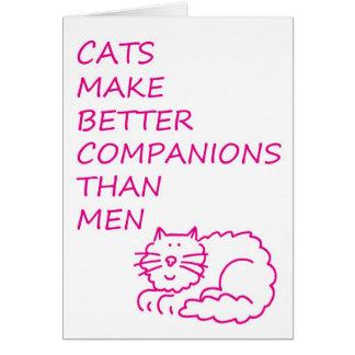 Los gatos hacen a mejores compañeros que hombres tarjeton