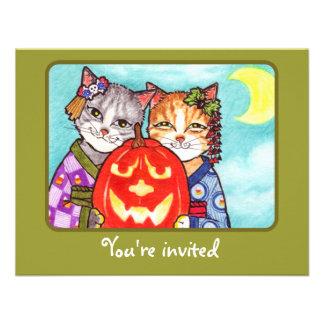 Los gatos japoneses con el fiesta de Halloween de  Invitacion Personal