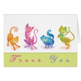 Los gatos le agradecen Notecard Tarjeta Pequeña