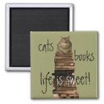 ¡los gatos, libros, vida son dulces! imanes para frigoríficos