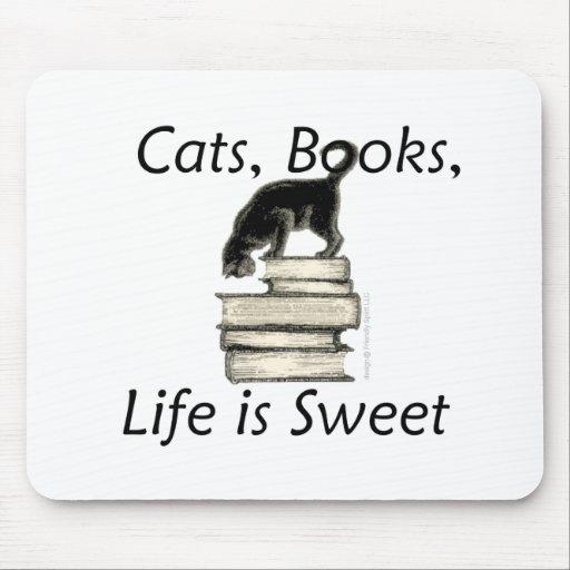 Los gatos, libros, vida son dulces mousepads
