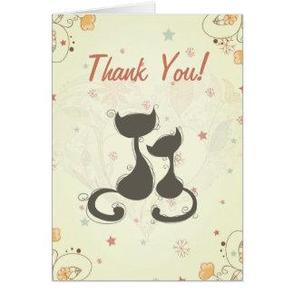Los gatos lindos de la silueta le agradecen cardar tarjeta pequeña