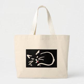 los gatos machihiembran el bolso rojo lindo bolsa tela grande