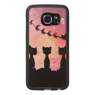Los gatos miran al cielo a Papá Noel Funda De Madera Para Samsung Galaxy S6 Edge