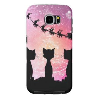 Los gatos miran al cielo a Papá Noel Funda Samsung Galaxy S6