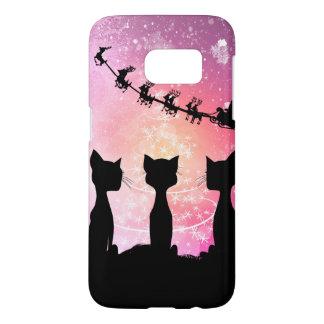 Los gatos miran al cielo a Papá Noel Funda Samsung Galaxy S7