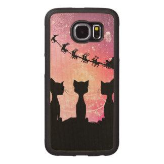 Los gatos miran al cielo a Papá Noel Fundas De Madera Para Samsung S6