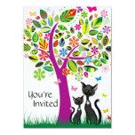 Los gatos negros y la fiesta de bienvenida al bebé invitación 11,4 x 15,8 cm