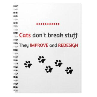 Los gatos no rompen la materia libros de apuntes con espiral