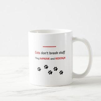 Los gatos no rompen la materia taza básica blanca