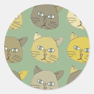 los gatos pegatina redonda