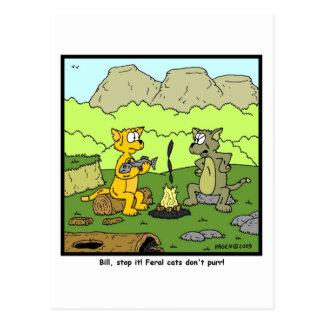 ¡Los gatos salvajes no ronronean! Postal