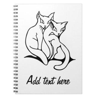 Los gatos se juntan en el dibujo original del amor libreta espiral