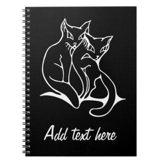 Los gatos se juntan en el dibujo original del amor cuaderno