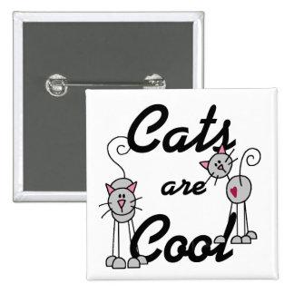 Los gatos son botón fresco pin cuadrado