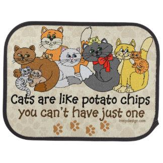 Los gatos son como las patatas fritas alfombrilla de auto