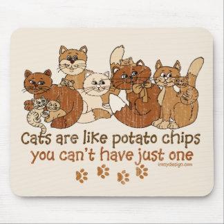 Los gatos son como las patatas fritas alfombrilla de ratones