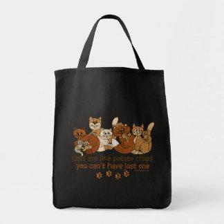 Los gatos son como las patatas fritas apenadas bolsa tela para la compra