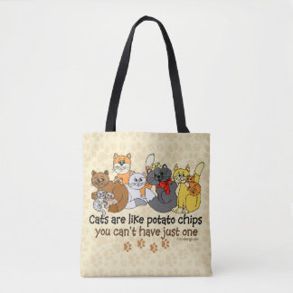 Los gatos son como las patatas fritas bolsa de tela