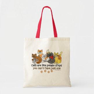 Los gatos son como las patatas fritas bolsa tela barata