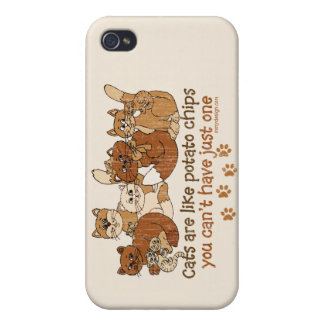 Los gatos son como las patatas fritas iPhone 4/4S carcasa