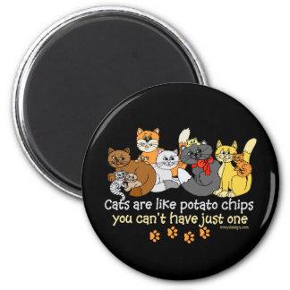 Los gatos son como las patatas fritas imán redondo 5 cm